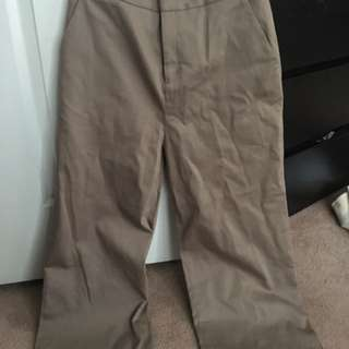 Oak + Fort - Tan Dress Pants w/ slit on side