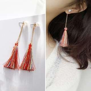 韓版現貨珍珠彩色流蘇長耳環