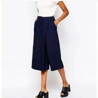 Korean navy wrap midi cullote pants