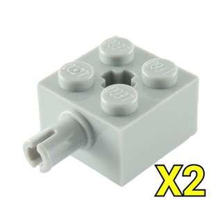 Lego Technic Brick 2x2 Pin Light Bluish Gray 2pc