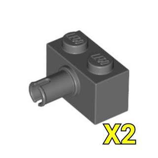 Lego Technic Brick 1x2 Pin Dark Bluish Gray 2pc