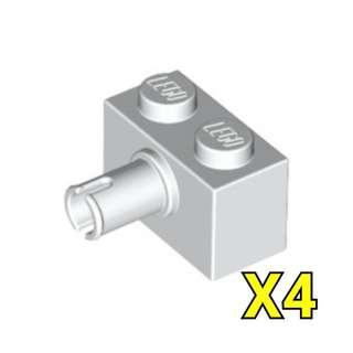 Lego Technic Brick 1x2 Pin White 4pc