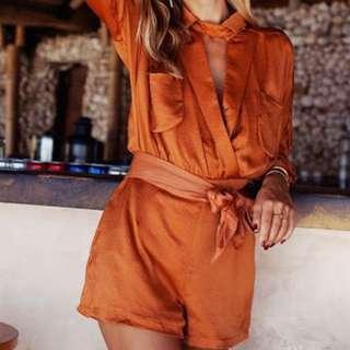 Sabo Skirt Luxe Playsuit Burnt Orange