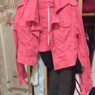 桃紅色 棉質騎士短身外套