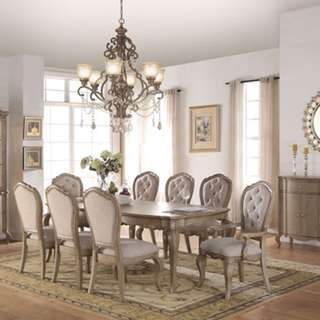 9pcs Antique Taupe Leaf Top Dining Table Chair Set