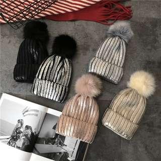 金屬色毛球毛帽加絨加厚保暖針織帽