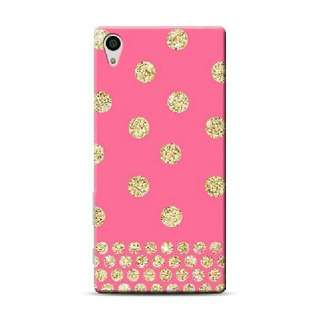 Gold Glitter Dots Pink Background Sony Xperia Z5 Custom Hard
