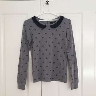 Lace collared grey top