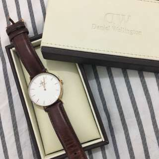 Daniel Wellington brown and rose gold