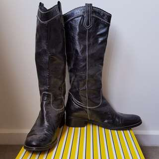 Wittner Epson Leather Black Boots size 38.5