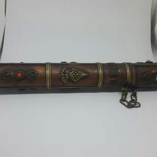 Ancient Tibetian copper scroll holder.