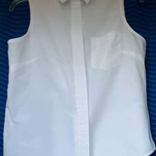 White Sleeveless Button Up