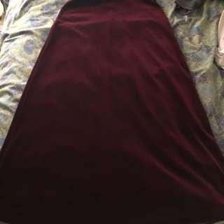 Wine burgundy velvet maxi skirt