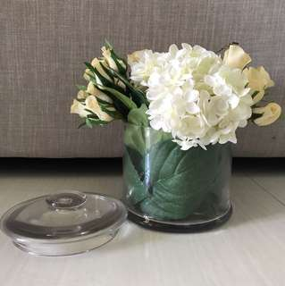 Decorative Glass Jar with artificial flowers