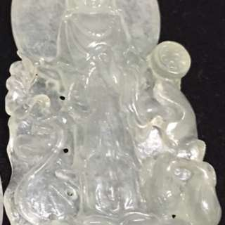 天然緬甸玻璃種觀音翡翠墜
