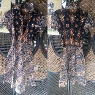 Dress batik coklat