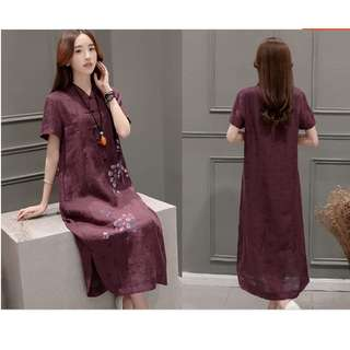 Coffee color long dress / Chinese folk style  / loosen / cotton-flax