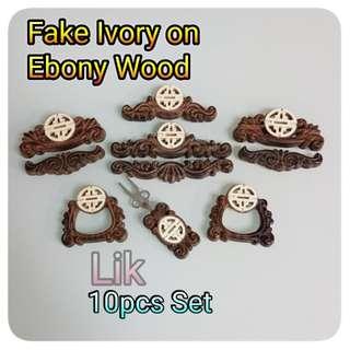 Fake Ivory on Ebony Wood Jb Door Set