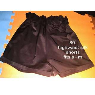 Preloved HW Black Silk Shorts