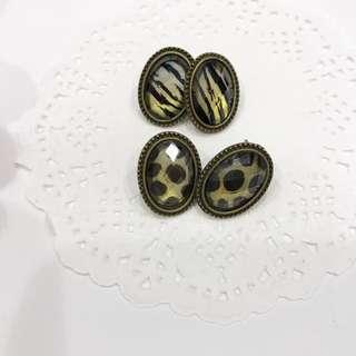 🚚 歐美復古橢圓豹紋 斑馬紋耳環