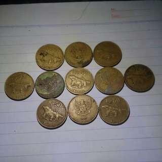 11 Keping Uang Rp. 50 Komodo