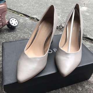 Zaola裸色粗跟高跟鞋5cm 銀色粗跟