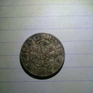 Uang 10 sen th. 1957