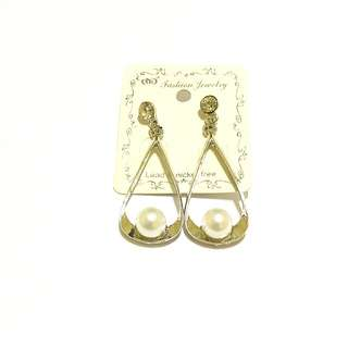 Silver Metal And Pearl Earrings