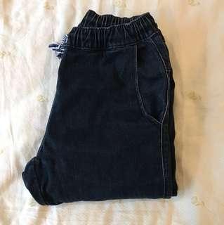 藍色縮口素面厚款 長褲