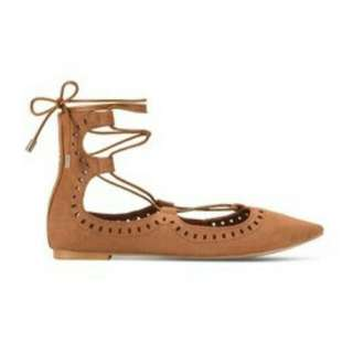 Something Borrowed Laser Cut Laced Up Ghillie Flats