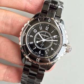 面交check 終身保養 CHANEL  J12系列H0682  黑色 陶瓷手表  33mm  石英錶 女錶 全套原版最新貨