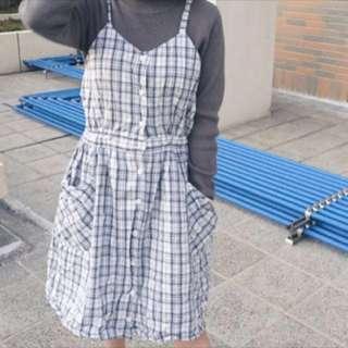 古著格子連衣裙 洋裝 連身裙 吊帶裙 背心裙 vintage