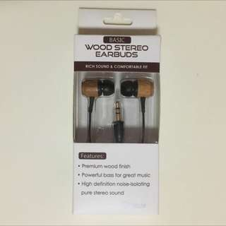 Wood Stereo Earbuds 👂