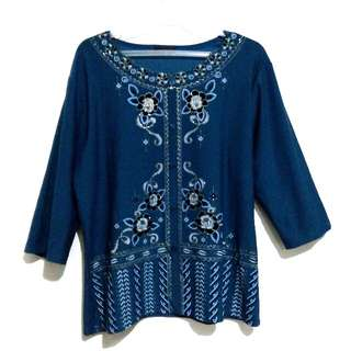 Dark blue green blouse
