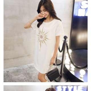 White embroided dress korean