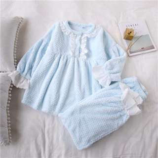 Baby Blue Girly Home Pajama, Lace