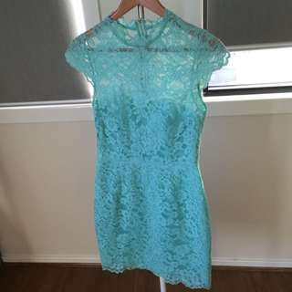 Forever New Light Green Lace Dress Size 8