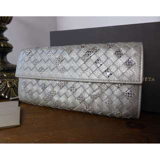Bottega Veneta Metallic Intrecciato Continental Wallet in Nappa & Ayers
