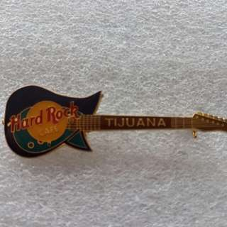Hard Rock Cafe Pins ~ TIJUANA HOT & RARE  DARK & LIGHT BLUE TOKAI TALBO A80D GUITAR PIN!