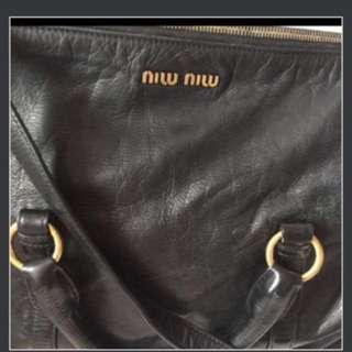 💋黑色Miu Miu蝴蝶結手提兩用包