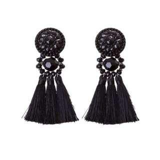 Lovisa black tassel statement earrings