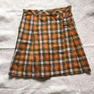 古著格紋褲裙