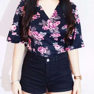 Black Floral Tie Wrap Top