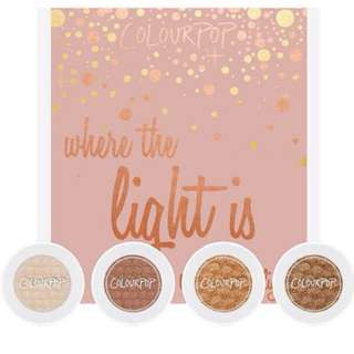 ❤️ Authentic WHERE THE LIGHT IS COLOURPOP - SUPER SHOCK SHADOWS
