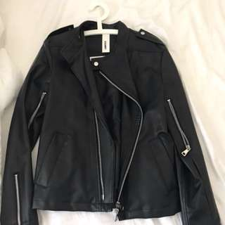 Men's leather look jacket size S