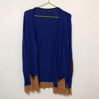 法國平價MONOPRIX 寶藍色拼接針織衫