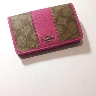 <XMAS SALE> Coach khaki x pink luxury signature PVC leather 2 fold wallet