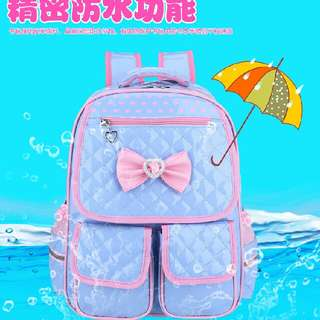 Girl children's school bag PU school bag Waterproof bag
