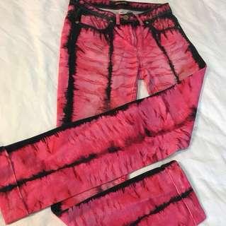 🚚 Roberto Cavalli牛仔褲#金扣#桃紅#火焰#小龐克#微伸縮#38號#165 72A