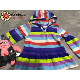• USED • COLOURFUL STRIPED JACKET PEPLUM HOODIE